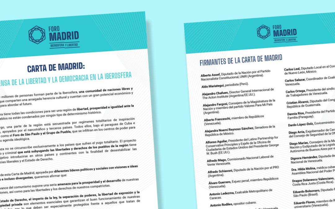 Carta de Madrid: en defensa de la libertad y la democracia en la Iberosfera